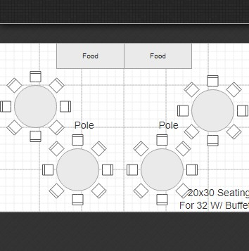 20x30 Tent Rental Layout 32 People