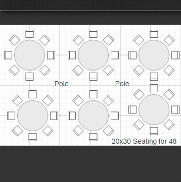 20x30 Tent Rental Seating for 48